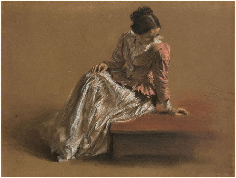 ADOLPH MENZEL (1815 Breslau - 1905 Berlin) - Emilie in roter Bluse, pastell på brunt papper, 21 x 28 cm, cirka 1850. Utropspris: 2,8 - 3,7 miljoner kronor.