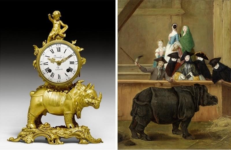 """Vänster: Bordsklocka, cirka 1740-50, Paris. Foto via Koller. Vänster: Pietro Longhi, """"Exhibition of the Rhino""""."""