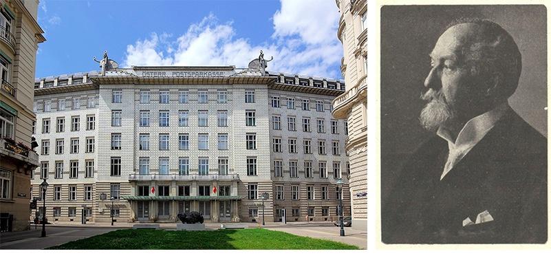 Links: Postsparkasse (1906) | Abb. © Bwag/Wikimedia Rechts: Otto Wagner um 1910 | Abb.: Wikipedia