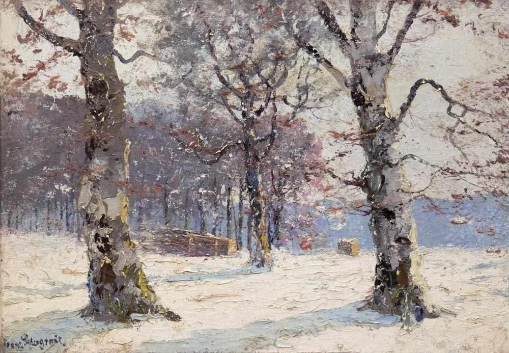 FRANZ PFLUGRADT (1861 Peenwerder/Demmin-1946 Zingst) - Winterwald, Öl/Lwd., signiert