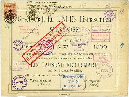 Gesellschaft für Linde's Eismaschinen AG - Wiesbaden, 01.01.1880, Gründeraktie über 1.000 Mark, später auf 100 RM umgestempelt, #232 Ausruf: 2.300 EUR