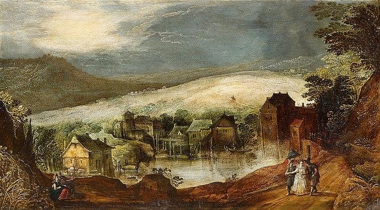 Josse de Momper, Un paysage de soir avec un couple Estimation basse: 18 000 euros
