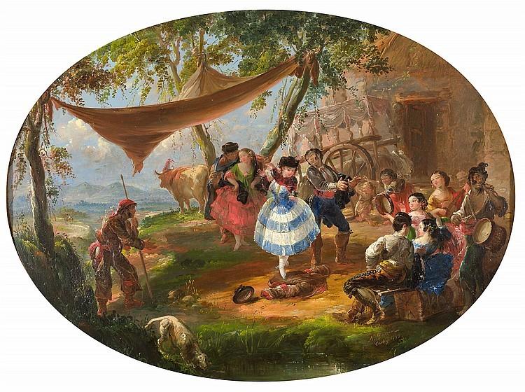 MANUEL GARCÍA AND GARCÍA HISPALETO «Romería en carreta, Alto en el camino, La gallina ciega y Banquete de boda»