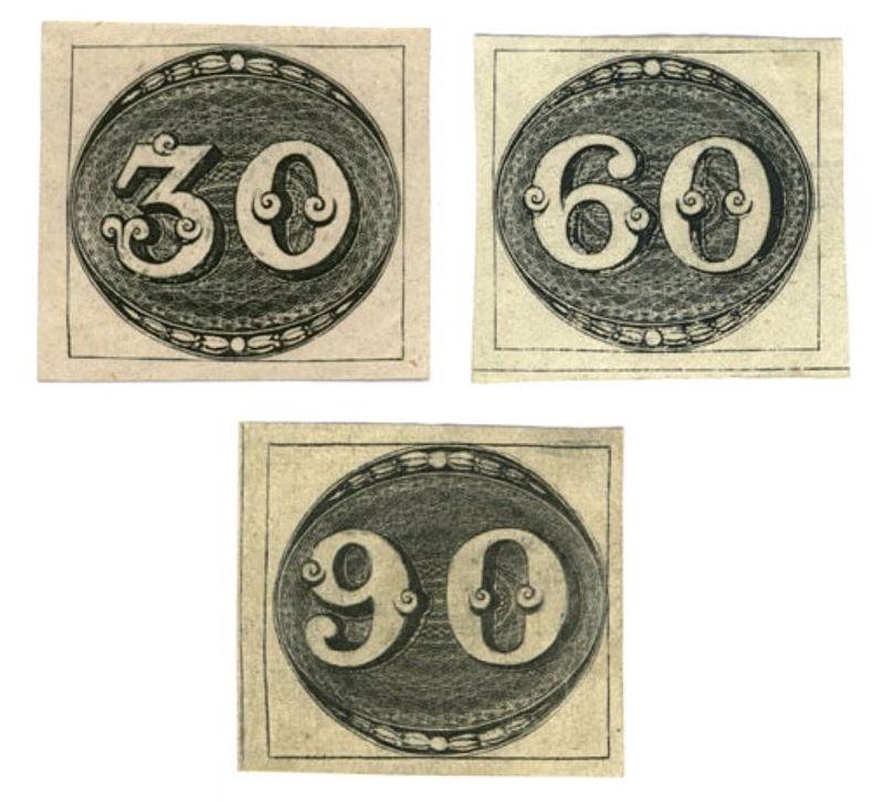 Das Olho-de-boi wurde 1843 als 30, 60 und 90 Réis-Marke in Brasilien ausgegeben