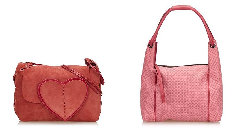Links: Gucci Suede Heart Shoulder Bag Rechts: Gucci Handtasche