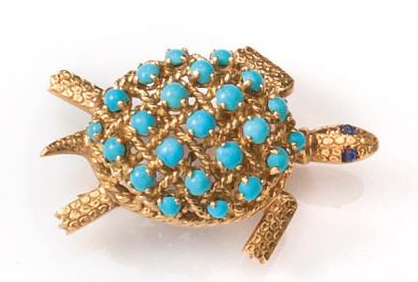 Cartier, Broche tortue or et turquoise Art Europe Auctions