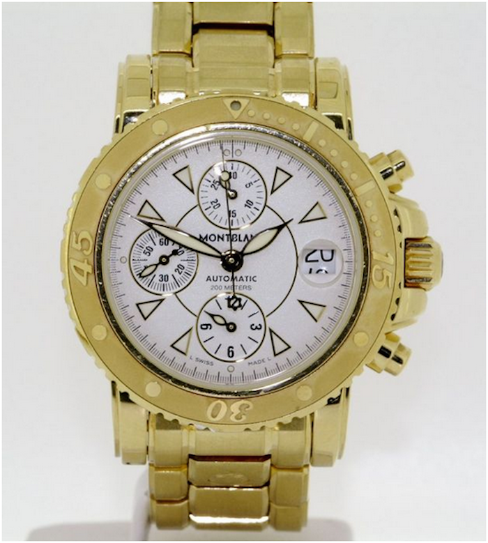 Herrur från Montblanc, i gult guld, från 2003. Auktionen avslutas den 18 december klockan 20.00. Utrop: 102.000 SEK