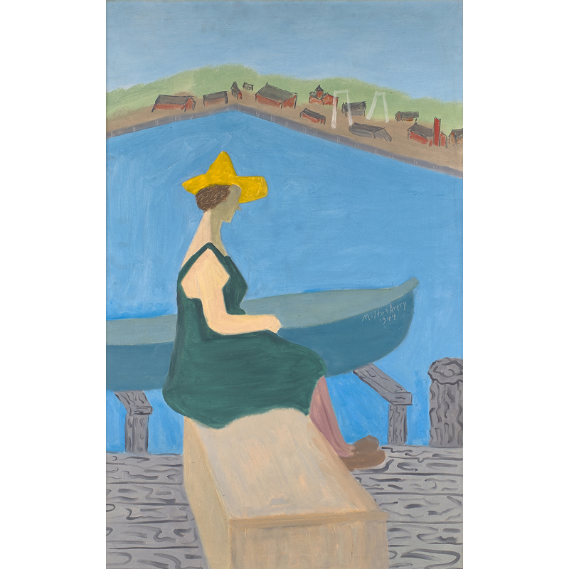 """Milton Avery - Girl by Lake, 1944; Oil on canvas (framed); Signed and dated; 42"""" x 26"""". Est. $300,000 – 500,000"""
