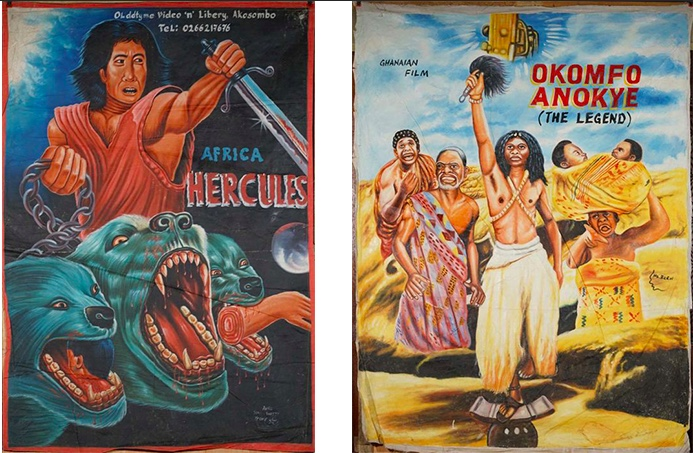 Links: CHARLES MANU - Africa Hercules, Öl/Lwd., signiert, 1990er Jahre Rechts: MR. BREW - Okomfo Anokye, The Legend, Ghanaian Film, Öl/Lwd., signiert, 1990er Jahre