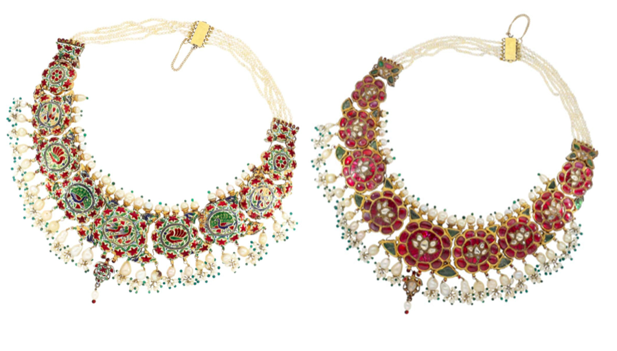 Indian wedding jewelry with rubies, diamonds, emeralds, pearls and enamel, probably 1st H. 20 .Jh. | Photos: Cortrie