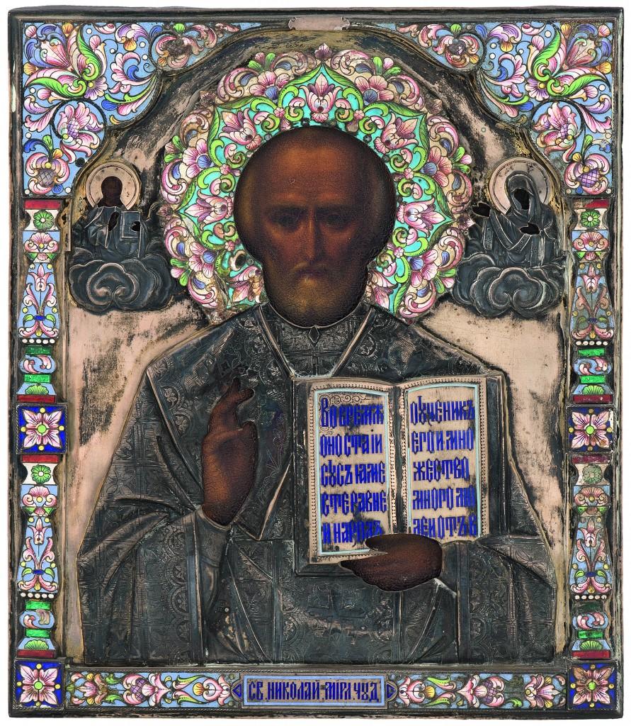 Ikone des Hl. Nikolaus mit emailliertem Silberoklad, Russland um 1910
