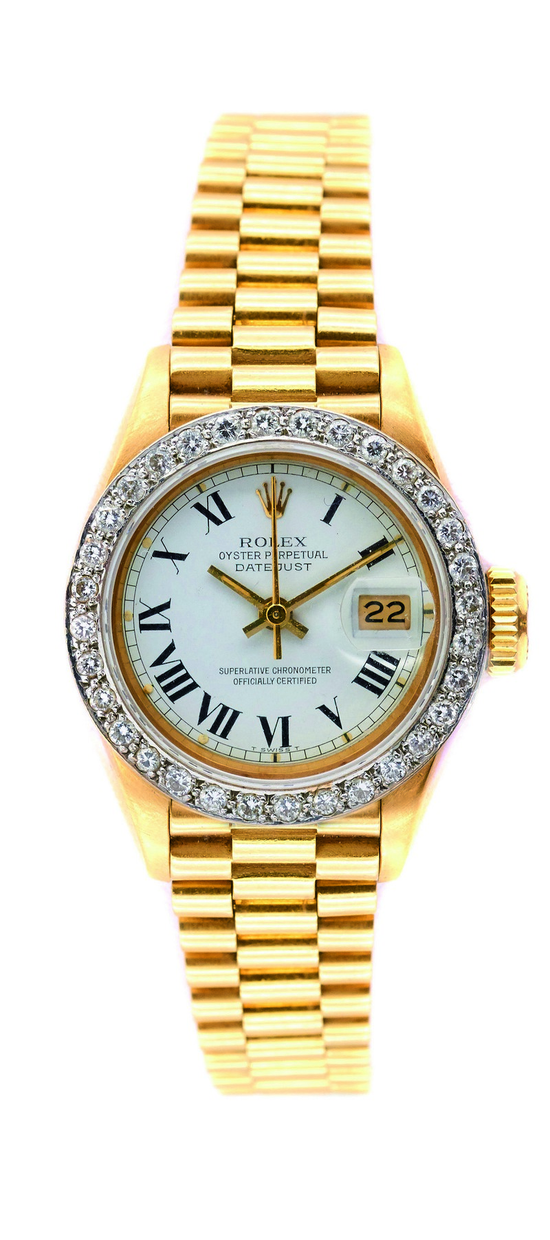 Reloj ROLEX Perpetual Date Just en oro y bisel con diamantes