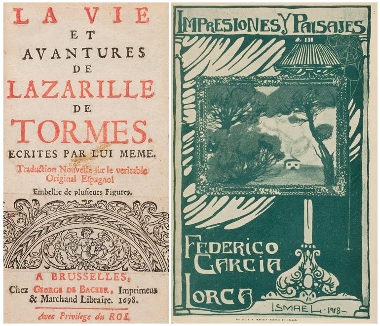 """A sinistra: lotto 360: George de Backer. """"Vita e avventure di Lazarillo De Tormes scritte da lui stesso"""",1698. A destra, Federico García Lorca, """"Impressioni e paesaggi"""", 1918."""