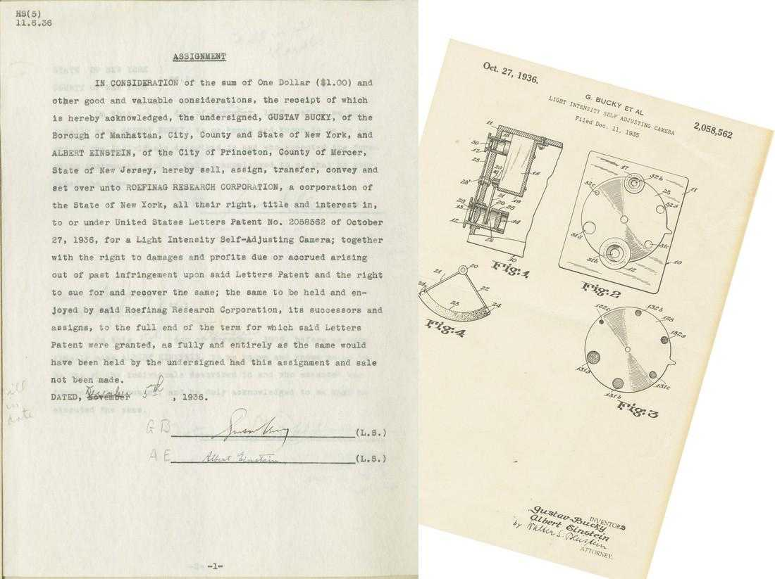 Albert Einstein patent assignment document signed by Einstein and touching on his Nobel Prize-winning work on the photo-electric effect, for an automatic camera (est. $20,000-$24,000).