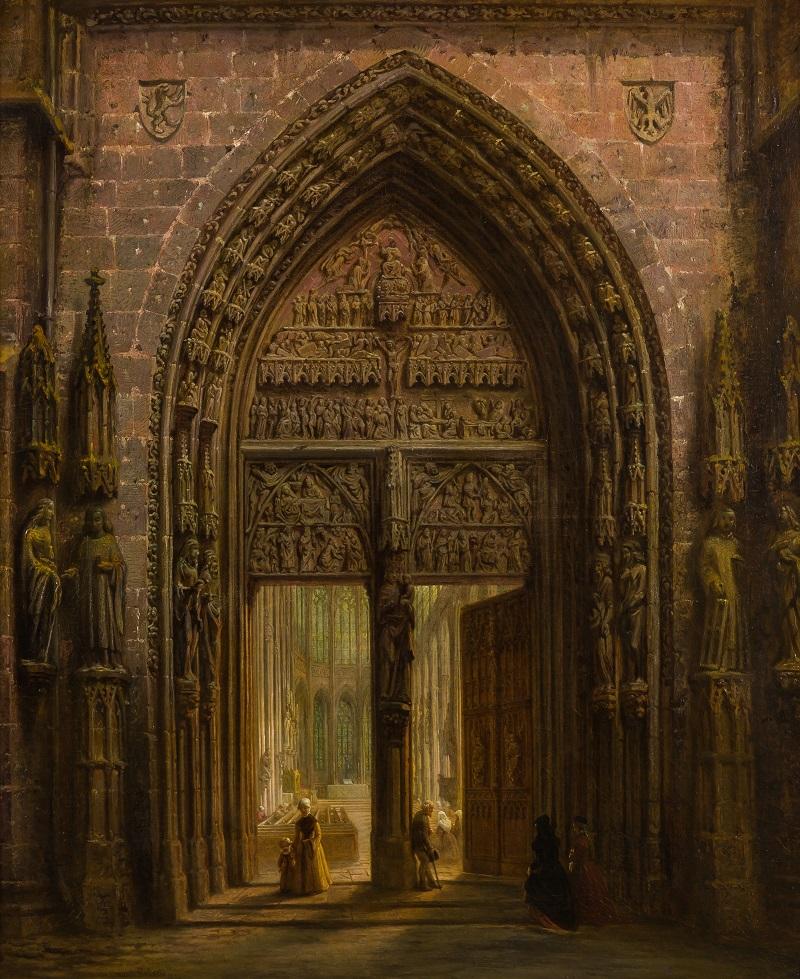 "DAVID ROBERTS (Edimburgo 1796 - Londres 1864). ""Pórtico catedral gótica"" (1856)"