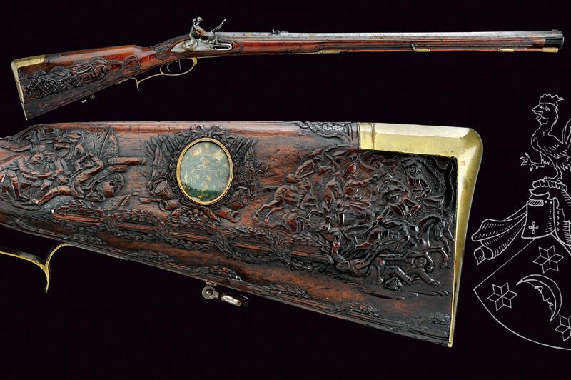 Ett utomordentligt flintlåsgevär av stor historisk vikt. Geväret har ägts av Baron von Beulwitz. Utrop: 323 000 SEK