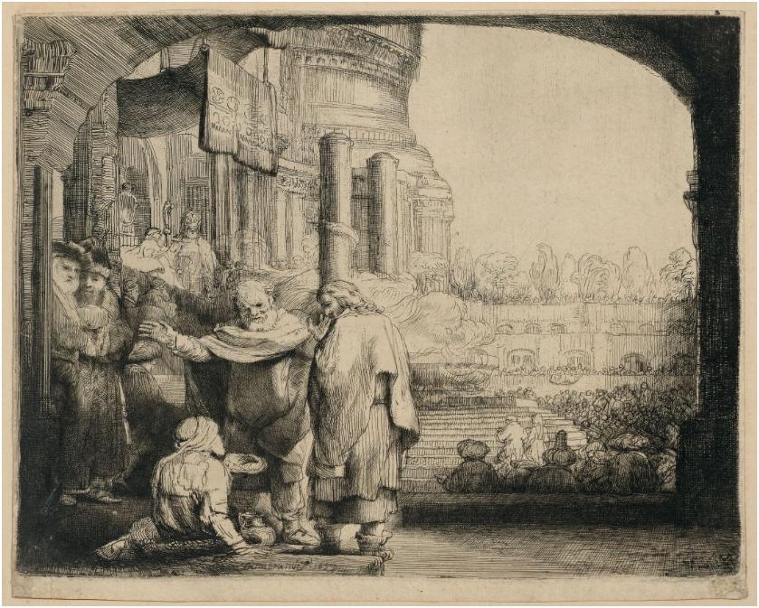 Harmensz van Rijn Rembrandt Pierre et Jean guérissent les boiteux à la porte du temple Gravure sur papier, signé et daté 1659