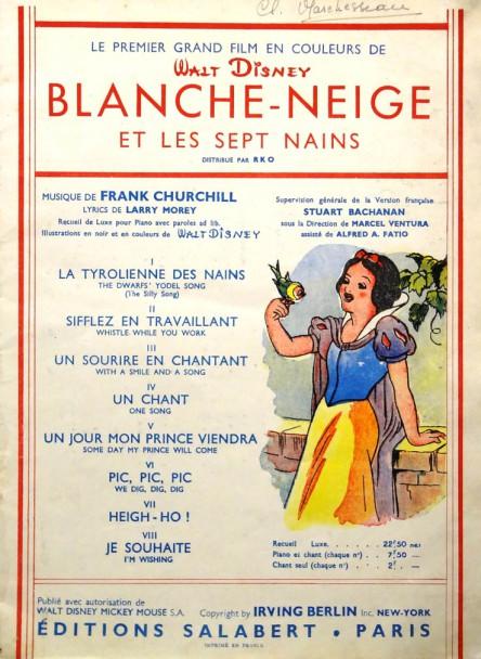 """""""BLANCHE - NEIGE ET LES SEPT NAINS un nouveau grand film de WALT DISNEY"""".- Publié avec autorisation de Walt Disney Mickey Mouse.  Paris: Editions Salabert. 1937 Duran"""