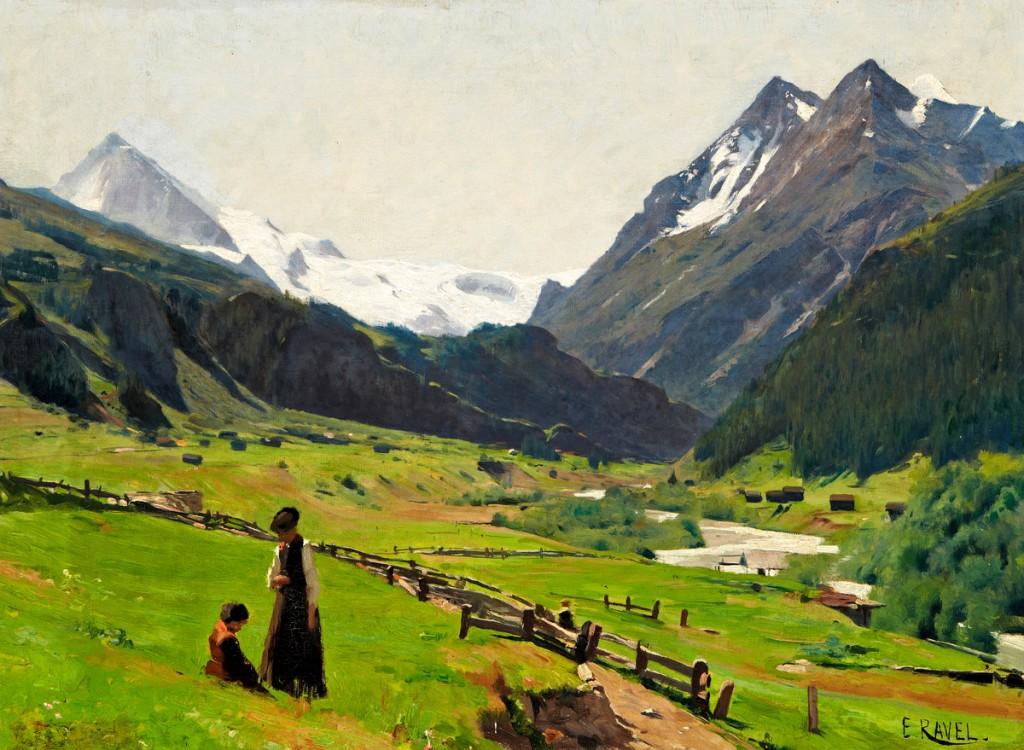 """EDOUARD JOHN E. RAVEL (1847 Versoix - 1920 Genf) - """"Paysage - Val d' Hérens"""", Öl/Lwd., betitelt und signiert"""