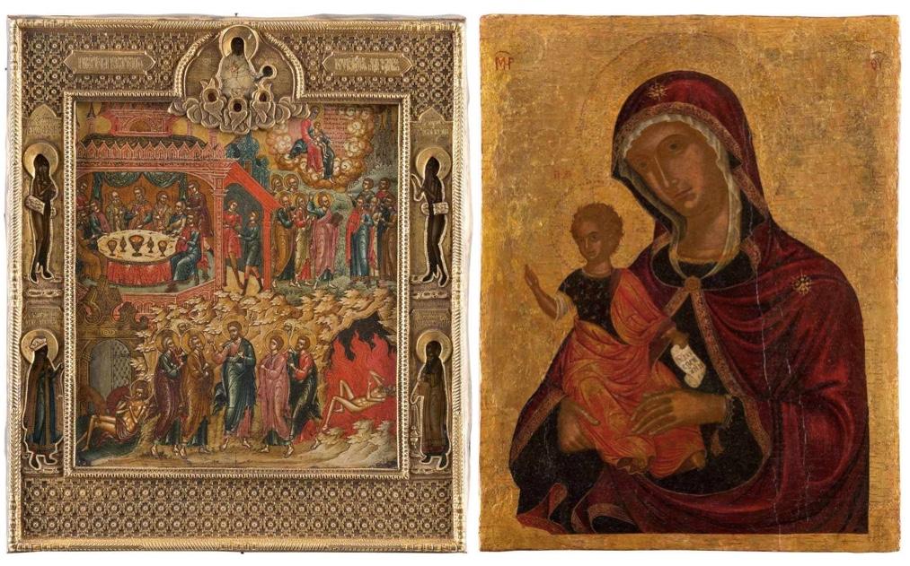 Links: Ikone mit Lazarus-Szenen in Metallbasma, Zentralrussland, Palech, um 1800 Rechts: NIKOLAOS TZAFOURES (1455 Candia/Kreta - 1501) attr. - Ikone mit der Madre della Consolazione, Kreta vor 1500