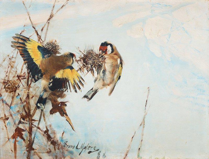 BRUNO LILJEFORS, Goldfinch (Steglitsor) - 1 500 000 - 1 800 000 kr Signerad Bruno Liljefors och daterad -88. Olja på pannå 27 x 36 cm.