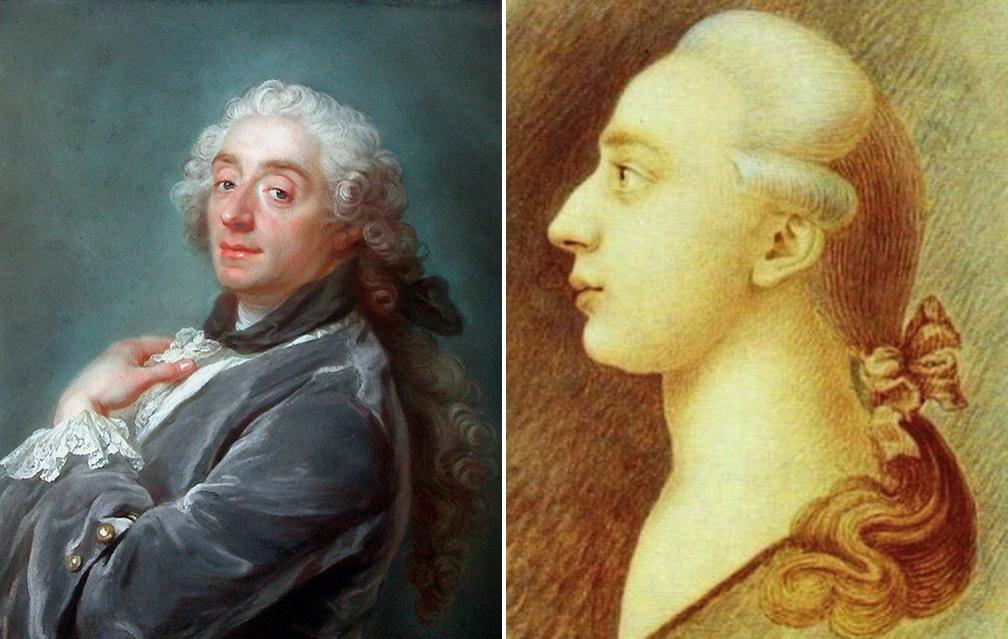 Links: Gustaf Lundberg - Portrait des Malers François Boucher, 1741 Rechts: Giacomo Casanova, Portrait von dessen Bruder Francesco, ca. 1750-55