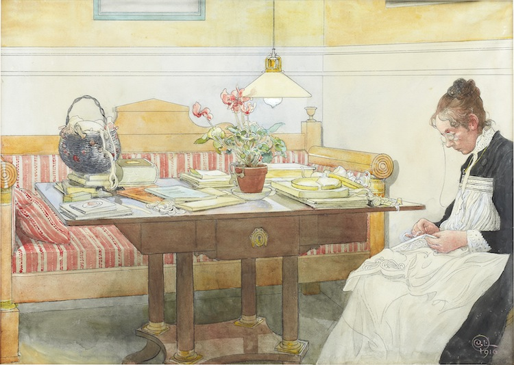 """Carl Larsson 1853‑1919. """"Min gamla Karin"""". Monogramsignerad och daterad C.L. 1916. Akvarell på papper lagd på duk, 53,5 x 74,5. Signed with monogram and dated C.L. 1916. Watercolour on paper laid on canvas, 54 x 75.5 cm."""