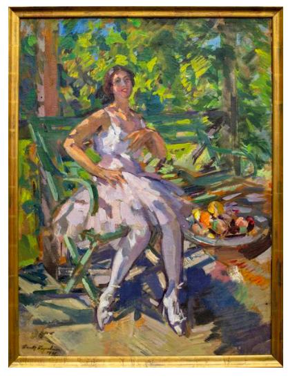 Ballerina on Okhotino Balcony, Konstantin Korovin. 1923, oil on canvas. Image: Tessier