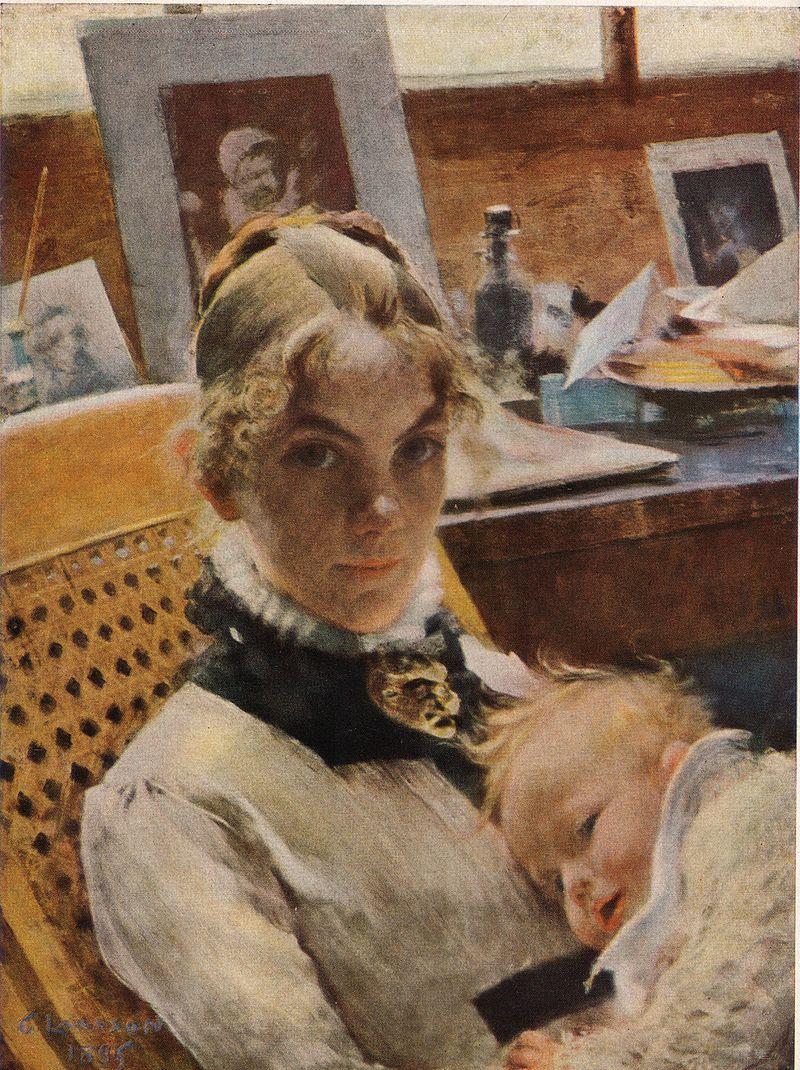 Karin med dottern Suzanne målad av maken Carl. Bild Wikimedia Commons