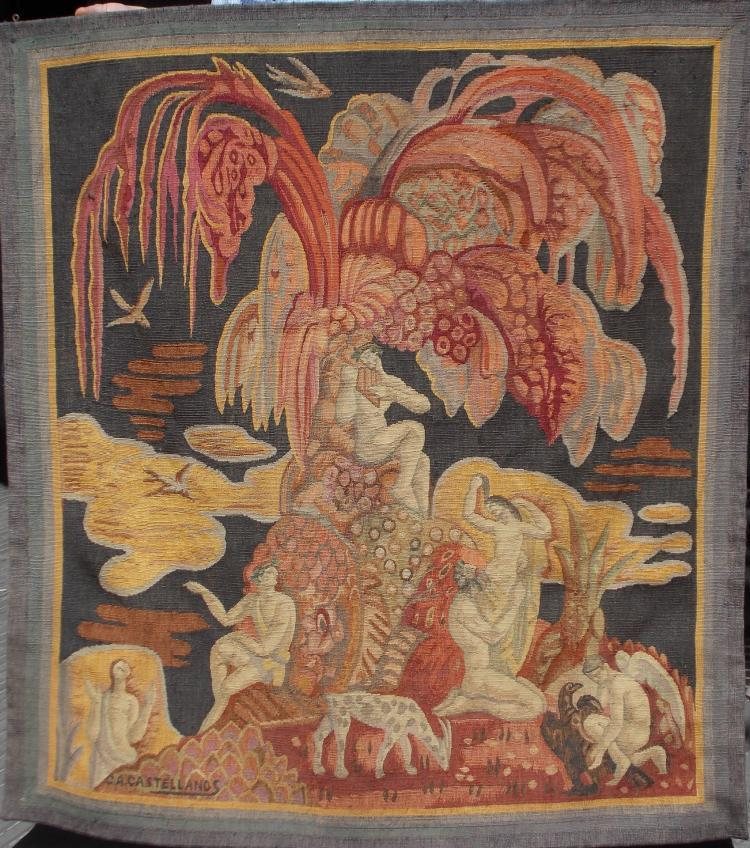"""Tapestry by Carlos Alberto Castellanos """"Night allegory with characters and animals"""". Signed C. A. Castellanos"""