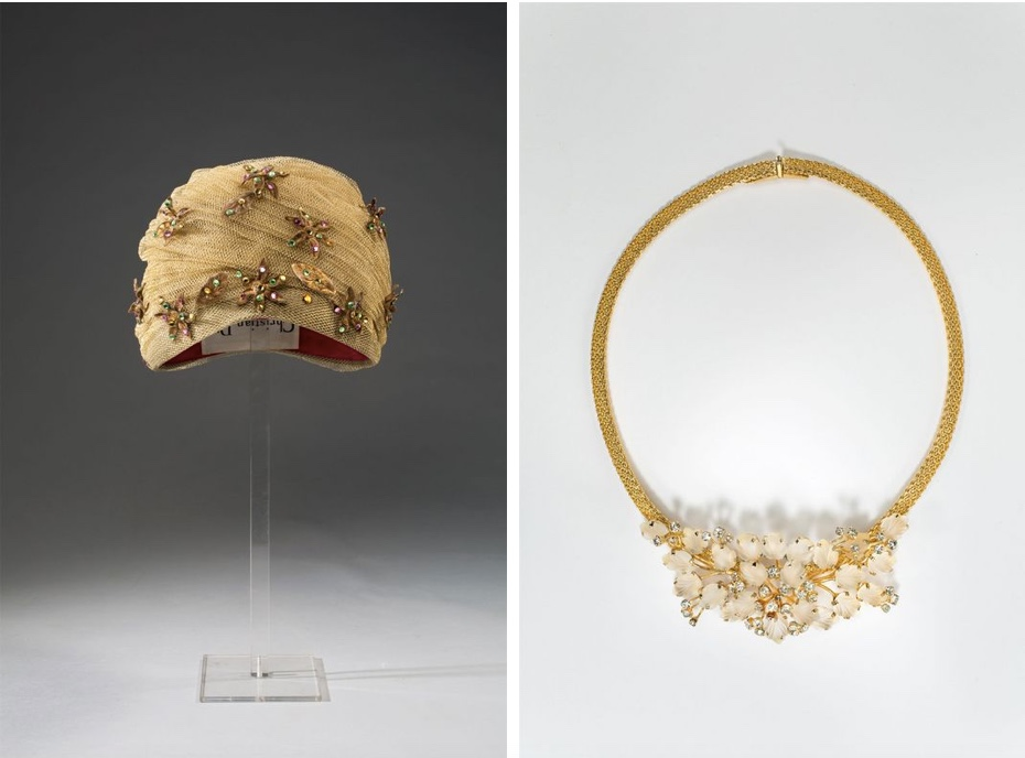 Links: CHRISTIAN DIOR - Turban mit Blüten, 1958-63 Rechts: HENKEL & GROSSE für CHRISTIAN DIOR - Milanese-Collier, 1968/72 Grisebach