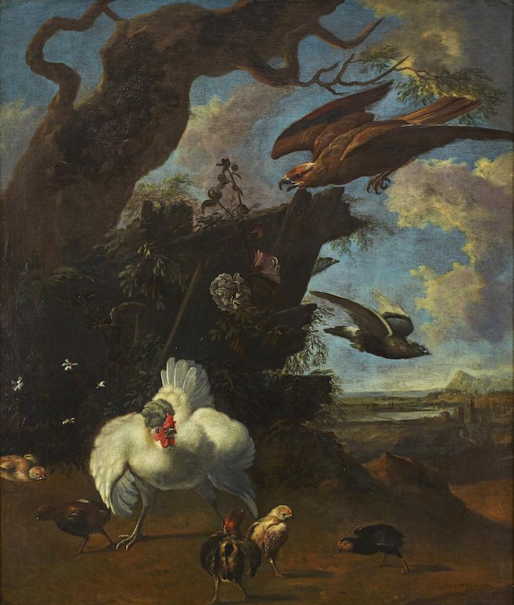 En av mina personliga favoritmålningar bland det äldre måleriet den här säsongen är fågelmålningen av en efterföljare till den holländske konstnären Melchior Hondecoeter. Utropet är 120-150 000 kronor hos Uppsala Auktionskammare