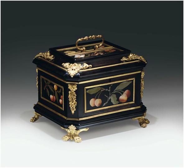 Coffre en Ebène, pierres précieuses et bronze doré . Florence, Galleria dei Lavori Granducal XVIIe / XVIIIe siècle
