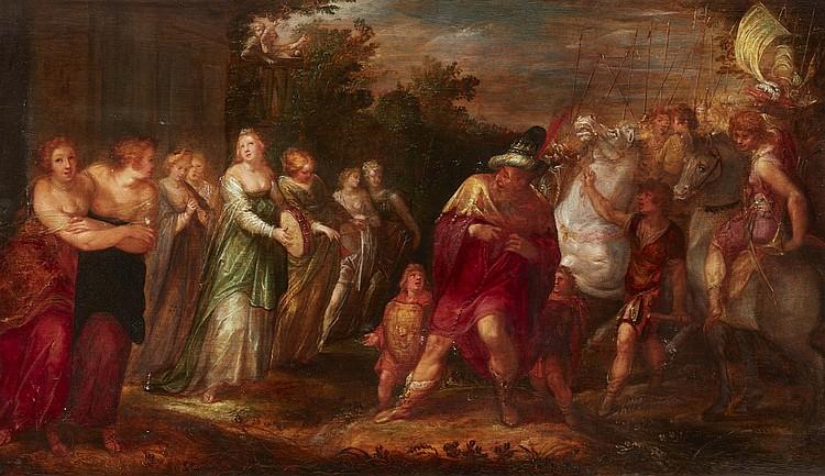 DAVID VINCKBOONS (1576 Mecheln - 1631/33 Amsterdam) - Jephte erblickt seine Tochter, Öl/Holz