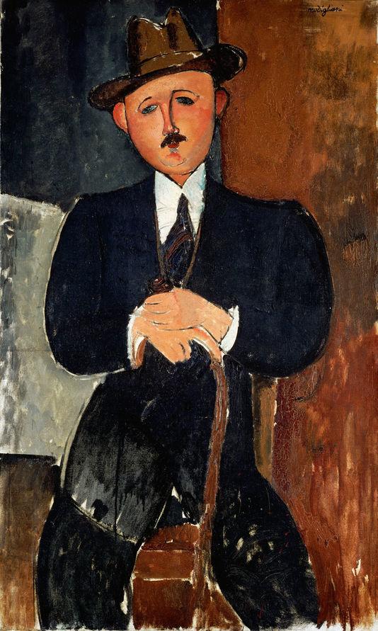 Amedeo Modigliani. «Homme assis (appuyé sur une canne) », 1918, Huile sur toile, 126 × 75 cm COLLECTION PRIVÉE / BRIDGEMAN