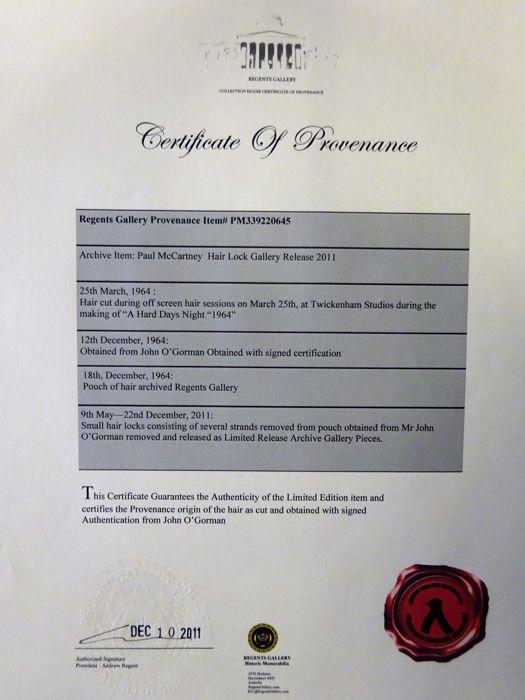 Le certificat de provenance vendu avec le lot Image: courtesy of Catawiki