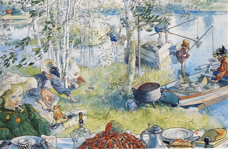 Carl Larsson var en stor förespråkare för de svenska traditionerna. Mycket tack vare hans måleri har vi en föreställning om hur ett dignande kräftfat ska se ut