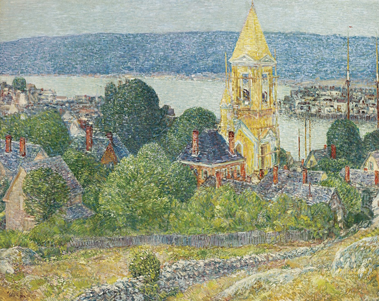 CHILDE HASSAM. SHINGLING THE FIRST BAPTIST CHURCH, GLOUCESTER, 1919. Estimate $1,000,000 — $1,500,000. Photo via Sotheby's