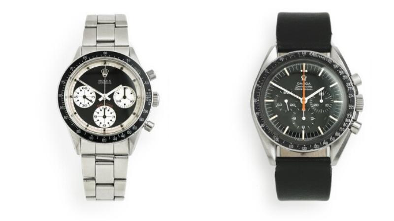 A sinistra: Rolex Daytona Paul Newman, Ref. 6241 A destra: Omega Speedmaster Ref. 145012–67