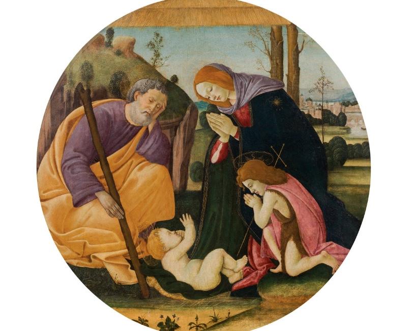 SANDRO BOTTICELLI und Werkstatt (Florenz 1444-1510 ebenda) - Heilige Familie mit Johannes dem Täufer, Tempera/Holz, 87 x 86 cm Schätzpreis: 350.000-700.000 EUR