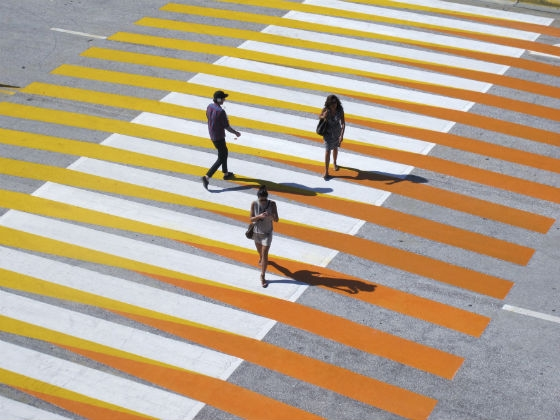 Carlos Cruz-Diez, Crosswalks of Additive Color, Miami Beach. Photo: © Atelier Cruz-Diez Paris