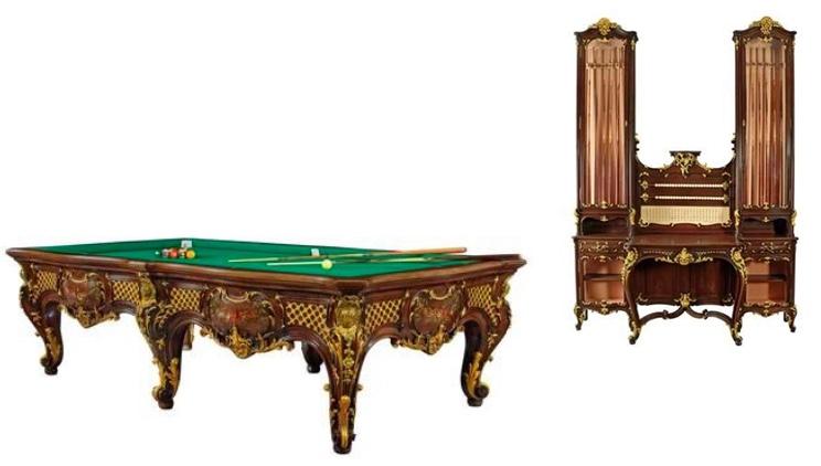 Seltener Neobarock-Billardtisch mit Queue-Aufsatzvitrine, Nussholz, Turin, Deagostini, ca. 1880/90
