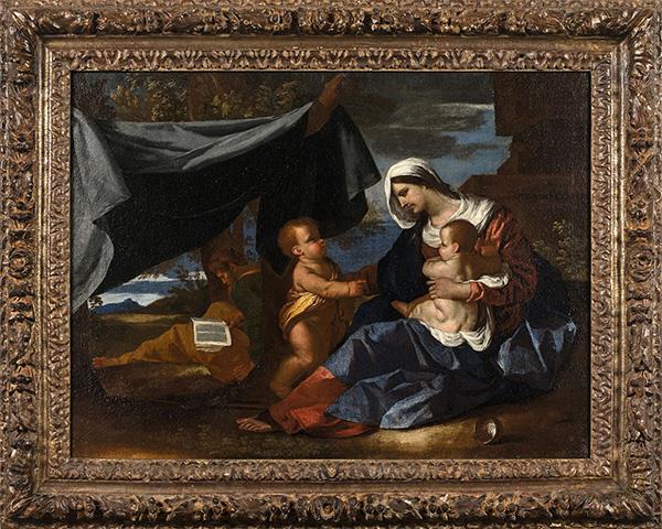 NICOLAS POUSSIN (1594-1665) La Sainte Famille avec saint Jean-Baptiste (détail) Toile, 52 x 68 cm Estimation : 300 000/400 000 €