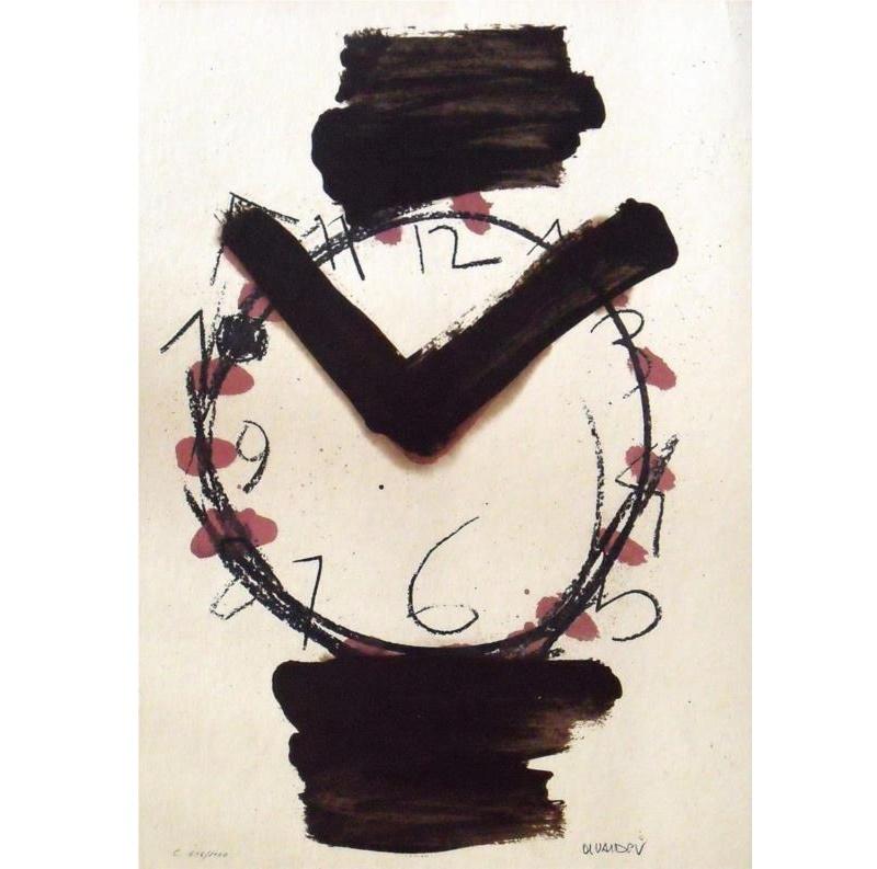 """MANOLO VALDÉS. """"Reloj"""". Litografía firmada en plancha y numerada"""