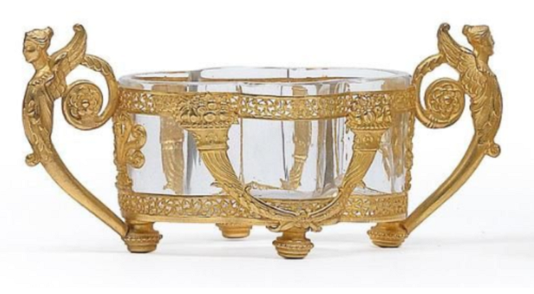 A small jardinière and calling card container with glass liners and gilt mounts. Height: 6 cm, 4,5 cm, Length: 14 cm, 10 cm.