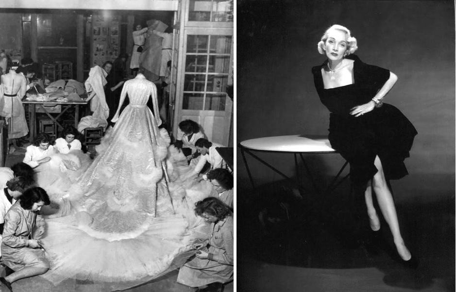Gauche: la robe de mariée de la princesse Soraya dans l'atelier Dior Droite: Marlène Dietrich en Dior Image via Pinterest