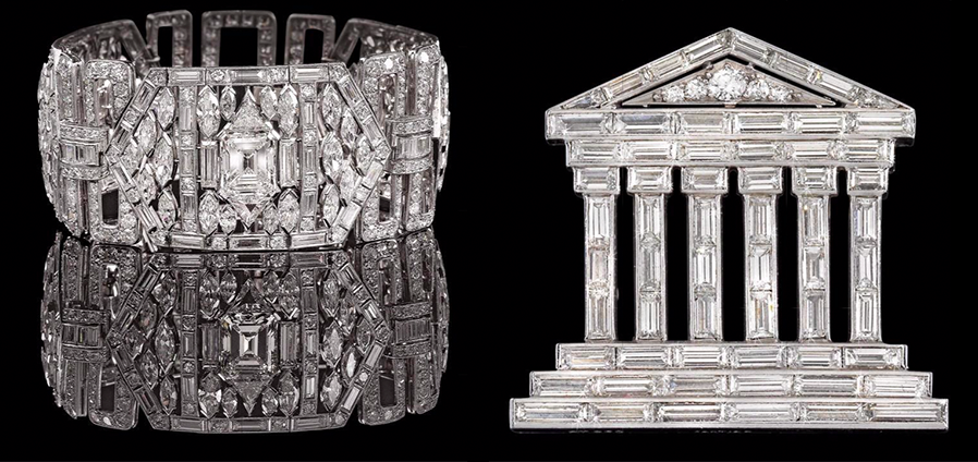 "Right: Cartier bracelet. Left: Cartier diamond brooch ""Temple"" No. 3105 