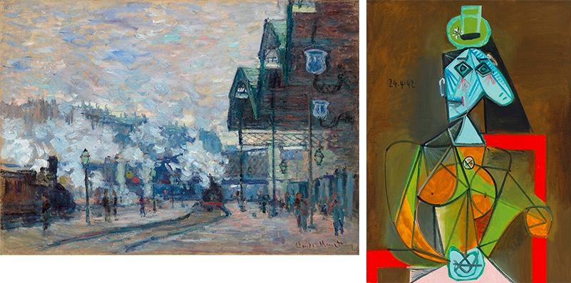 Links: CLAUDE MONET (1840-1926) - La Gare Saint-Lazare, vue extérieure, 1877 Rechts: PABLO PICASSO (1881-1973) - Femme dans un fauteuil (Dora Maar), 1942 | Beide Abb.: Christie's