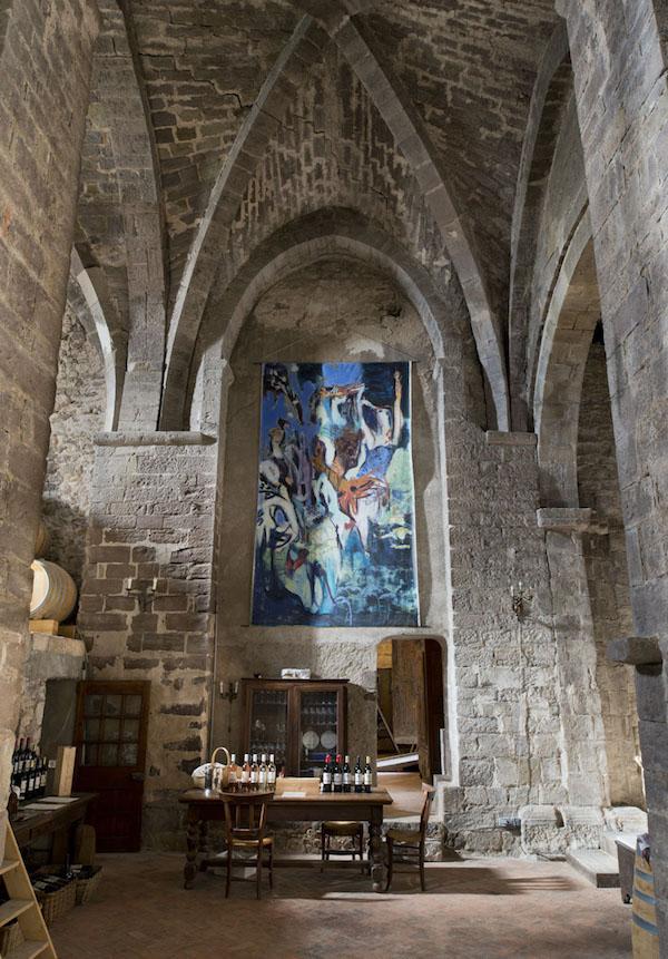 Den stora målningen i kapellet målades av Inge efter en kräftskiva som Christine och Alan haft.