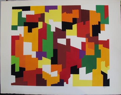 """Yaacov Agam (1928, Israel), """"Summer"""", ca. 1980. Screentryck i färg, signerad och numrerad."""
